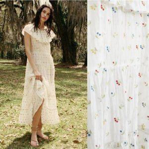 Doen Kendalia Cherry Embroidered White Dress Small